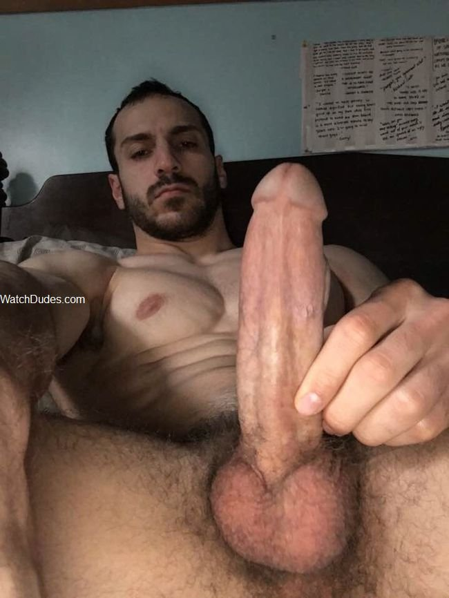 Nude dude cock jerked off