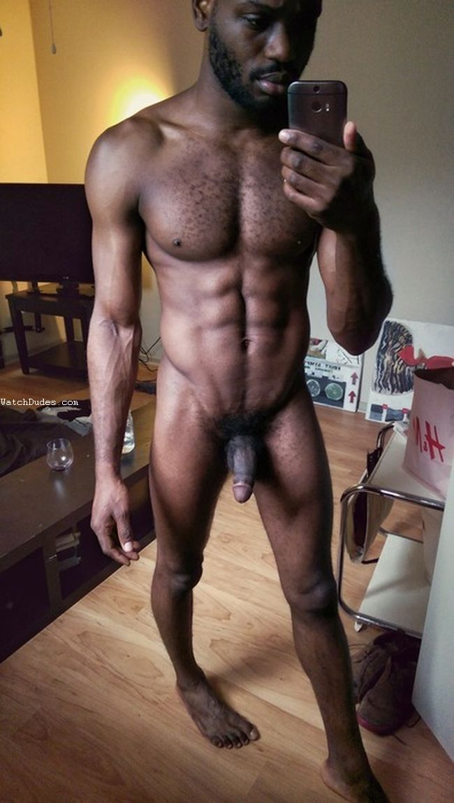 Mature ebony hunk photographs cock and masturbates dive