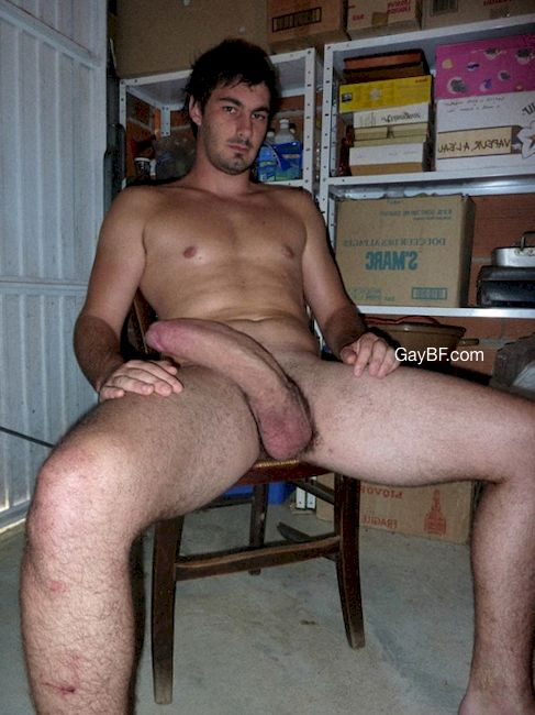 Horny guy showing off his big uncut cock and nice firm balls. That is one